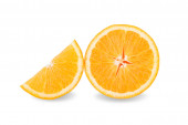 Slice of fresh orange isolated on white backgroun — Stock Photo
