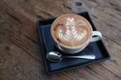 A cup of coffee mocha on wooden — Foto de Stock