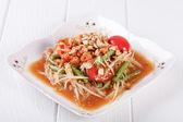 Somtum (tum thai), papaya salad delicious food in thailand — Stock Photo