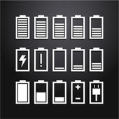 Battery icons set, charge level indicators — Stock Vector