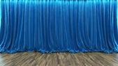 3d rendering theater stage with blue curtain and wooden floor — Stockfoto