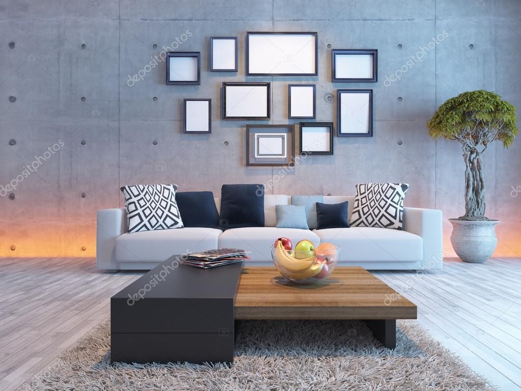 Vardagsrum inredning med betong vägg och bild ram — stockfotografi ...