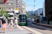TRAM STOP IN THE HELSINKI CITY — Stock Photo