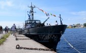 MILITARY SHIP AT THE PIER — Stock Photo