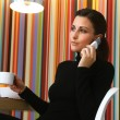 Woman with Coffee and Cell Phone — Stock Photo #53545981