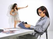 Woman is working at the office ll — Stock Photo
