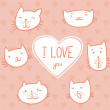 Greeting card cute cats with love. — Cтоковый вектор #54291091