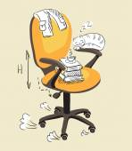 Office chair with subjects. — 图库矢量图片