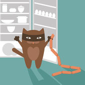 Cat stealing sausages from refrigerator — Stock Vector