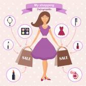 Icons for beauty and shopping — Stock Vector