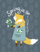 Cute card with fox and flowers. — Stock Vector