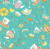 Sweets, birds and flowers pattern. — Vecteur