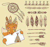 Fox and Indian elements — Stock Vector