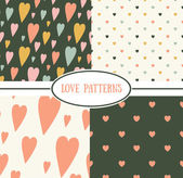 Set of retro love patterns. — Stock Vector