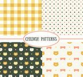 Retro childish seamless patterns — Stock Vector