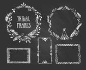 Tribal wreaths and frames — Stock Vector