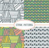 Set of tribal seamless patterns — Stock Vector