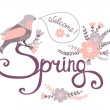 Welcome spring card with bird on flowers — Stock Vector #65679743