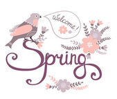 Welcome spring card with bird on flowers — Vecteur