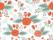 Roses and tulips seamless pattern — Vector de stock