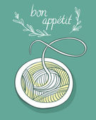 Card with spaghetti and Bon Appetit sign — Stock Vector