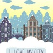 I love my city decorative background — Stock Vector #67984951