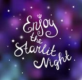 Enjoy starlit night — Stock Vector