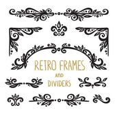 Retro frames and dividers Set — Stock Vector