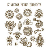 Set of henna elements — Stock Vector