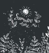 Summer background with herbs — Stock Vector