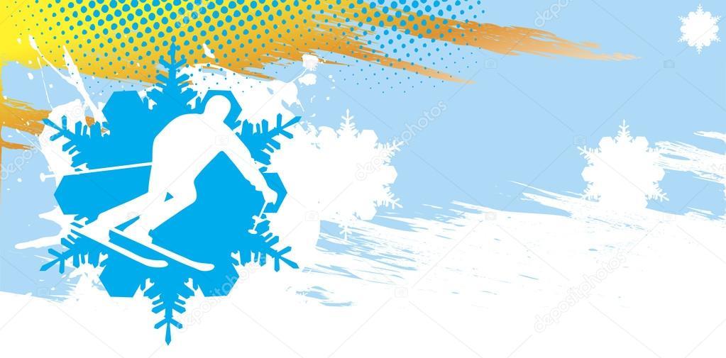 滑雪的旗帜.抽象矢量图– 图库插图