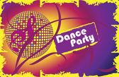 Dance party.Invitation card. — Stock Vector