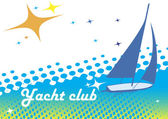 Yacht club banner.Blue background.Abstract sea motive — Stock Vector