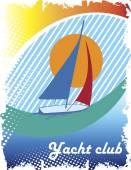 Blue sea eye.Abstract sea motive.Yacht club poster — Stock Vector