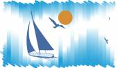 Intershot blue gackground with yacht.Abstract sea background — Stock Vector