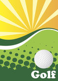 Abstract green golf background with sun rays — Stock Vector