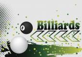 Abstract billiard background with green arow and  colorful dots — Stock Vector