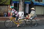 Trishaw on street in Chau Doc town, Vietnam — Stock Photo