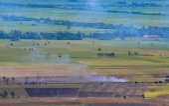 Vista aérea de campos de arroz de arroz en el Delta del Mekong — Foto de Stock
