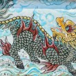 Old painting dragon on the wall of Chinese temple — Stock Photo #70108627