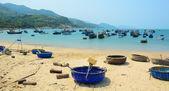 Tribal boats on beautiful beach — Stockfoto