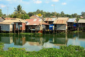 Colorful squatter shacks and houses in Saigon — Stock Photo