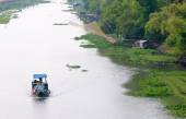 Cargo boat floating on the Mekong river — Stock Photo