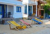 Wooden sun chairs — Stock Photo