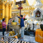 Buddhist devotees bathing Buddha statues at Shwedagon Pagoda — Stock Photo #76261517