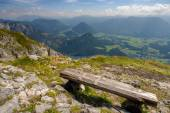 Mountains from the bench — Stock Photo