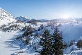 Sunset over ski station — Stock Photo