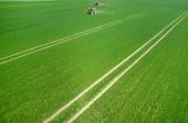 Аэрофотоснимок трактора — Стоковое фото