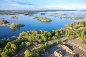 Flygfoto på sjön — Stockfoto