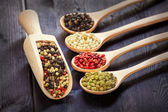 Mixed peppercorns in a wooden spoon — Stock Photo